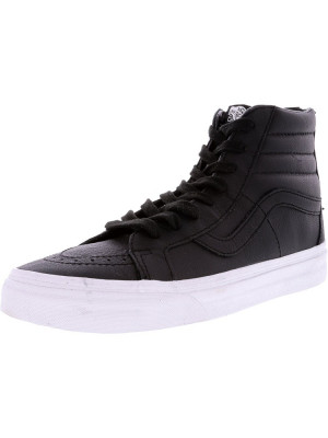 Vans Sk8-Hi Reissue Zip Premium Leather Black / Tue White High-Top Skateboarding Shoe foto