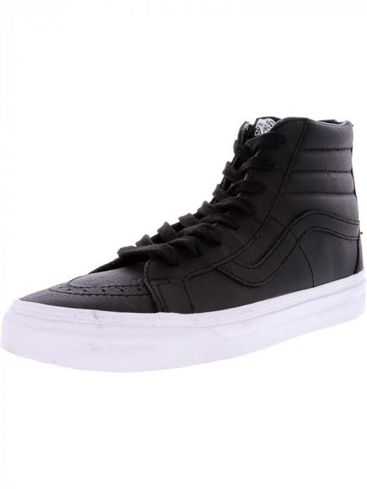 Vans Sk8-Hi Reissue Zip Premium Leather Black / Tue White High-Top Skateboarding Shoe
