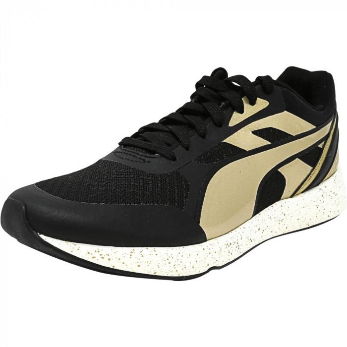 Puma barbati 698 Ignite Metallic Black / Gold White Ankle-High Fashion Sneaker foto mare