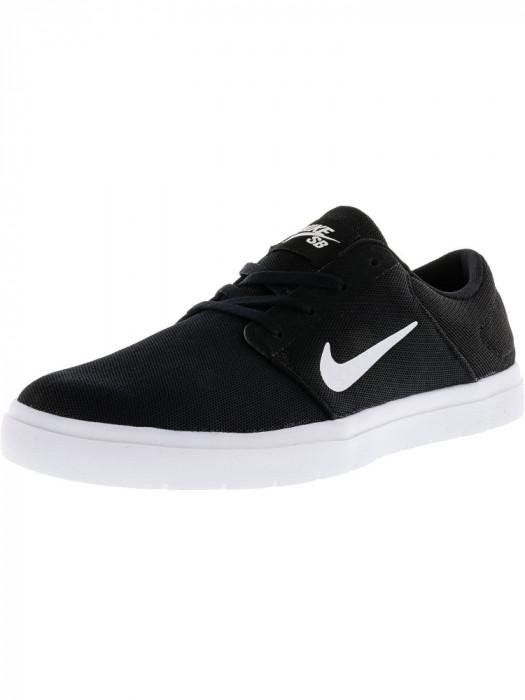 Nike barbati Sb Portmore Ultralight Black / White-Black Ankle-High Skateboarding Shoe foto mare