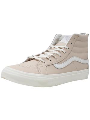 Vans Sk8-Hi Slim Zip Leather Whispering Pink / Blanc De High-Top Skateboarding Shoe foto
