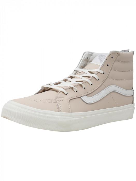 Vans Sk8-Hi Slim Zip Leather Whispering Pink / Blanc De High-Top Skateboarding Shoe foto mare