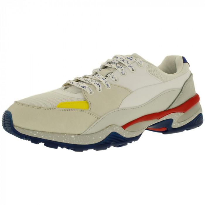 Puma barbati Mcq Tech Runner Lo White/Glacier Gray/Flame Scarlet Low Top Fabric Tennis Shoe