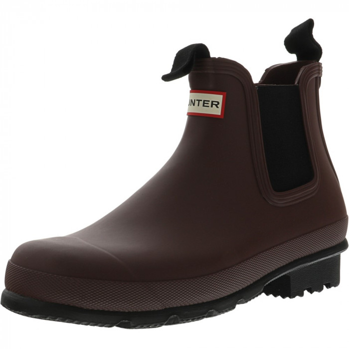 Hunter barbati Original Chelsea Dark Sole Rma Umber High-Top Rubber Rain Boot foto mare