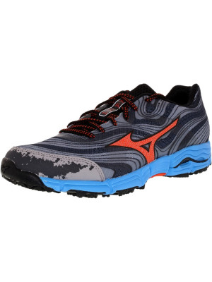 Mizuno barbati Wave Kazan M Gunmetal/Tangerine Tango Ankle-High Fabric Cross Country Running Shoe foto