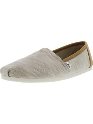 Toms barbati Classic Chambray Oxford Tan Trim Ankle-High Canvas Flat Shoe foto
