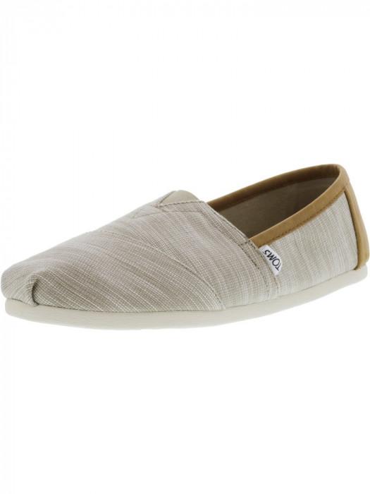 Toms barbati Classic Chambray Oxford Tan Trim Ankle-High Canvas Flat Shoe foto mare