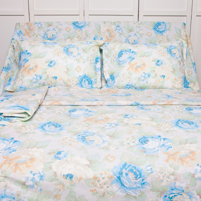 Lenjerie de pat pentru 2 persoane BonDia, Model Nuria 201, 100% bumbac, 4 piese