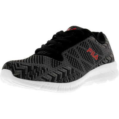 Fila barbati Memory Speed Knit Black / Castlerock Red Ankle-High Running Shoe foto