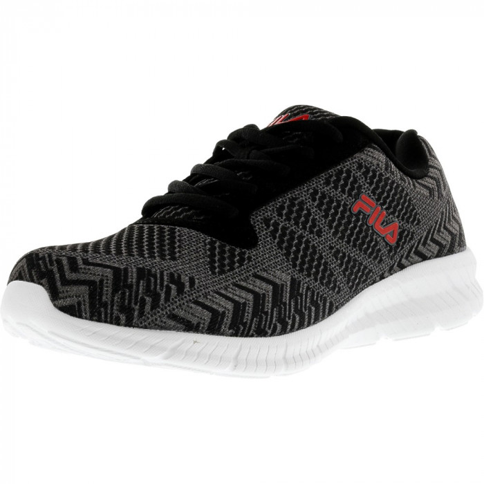 Fila barbati Memory Speed Knit Black / Castlerock Red Ankle-High Running Shoe foto mare