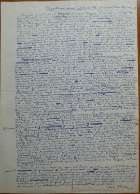 Manuscris al criticului si scriitorului Al. Piru , Perpetuum comic estival 1978 foto
