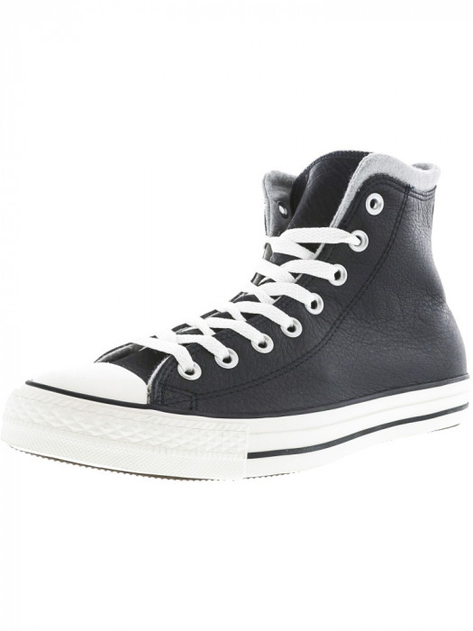 Converse Chuck Taylor All Star Hi Black / Egret Dolphin High-Top Leather Fashion Sneaker foto mare