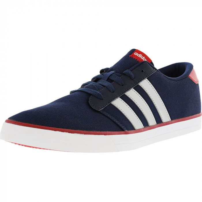 Adidas barbati Vs Skate Collegiate Navy / Metallic Silver Scarlet Ankle-High Fabric Skateboarding Shoe foto mare