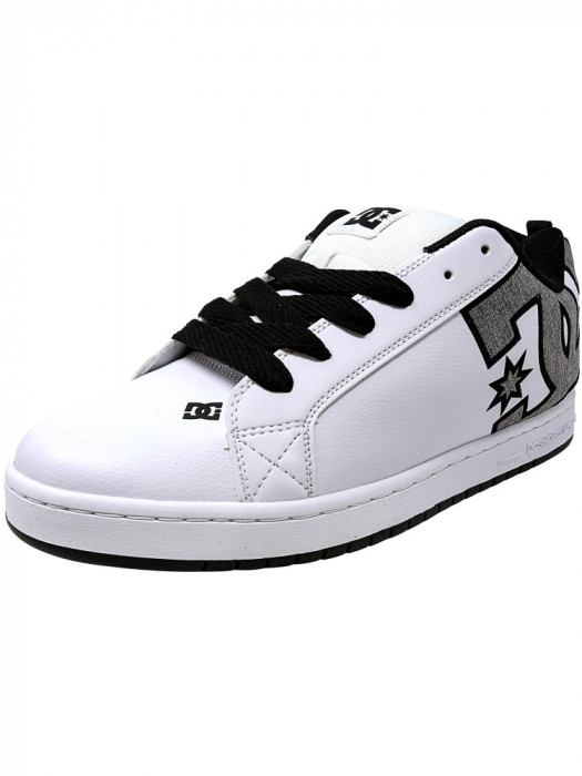 Dc barbati Court Graffik Se White / Heather Grey Ankle-High Leather Skateboarding Shoe foto mare