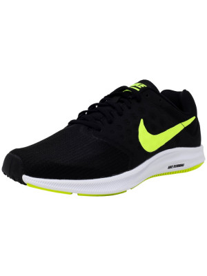 Nike barbati Downshifter 7 Black / Volt White Ankle-High Running Shoe foto