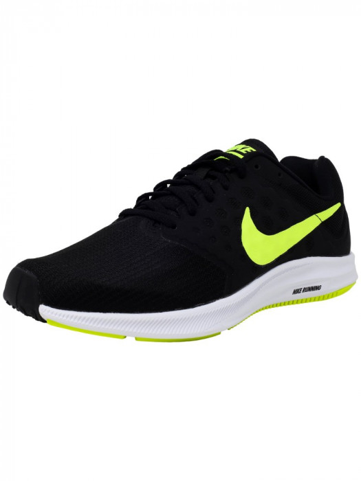 Nike barbati Downshifter 7 Black / Volt White Ankle-High Running Shoe foto mare