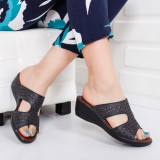 Papuci Kenna negri cu platforma ortopedica