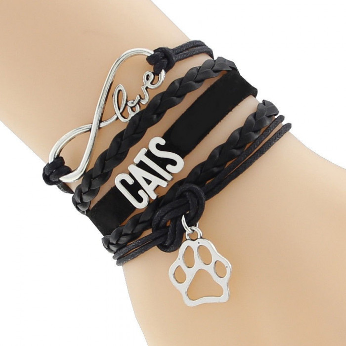 Bratara piele cu pisica / pisici I LOVE CATS + charm labuta de pisica / pisici