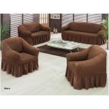 Set huse creponate pentru canapea si fotolii 3.1.1 culoarea MARO