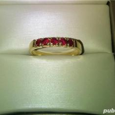 Inel de aur 14k cu 5 rubine naturale