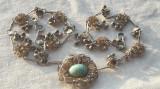 COLIER argint aurit TRIBAL superb VECHI executat manual SPLENDID vintage UNICAT