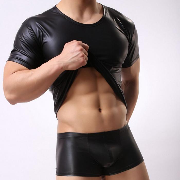 Tricou tip piele pentru barbati - sexy, fashion, fetish, BDSM