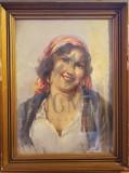 """TABLOU, ELENA MULLER STANCESCU """"FEMEIA CU BATIC ROSU"""", U/P"""