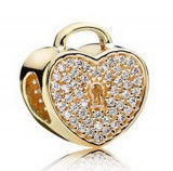 Charm pandantiv INIMA HEART talisman placat aur pentru Bratara PANDORA, Femei