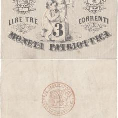 1848, 3 lire (P-S187) - Italia (Veneția)! (CRC: 70%)