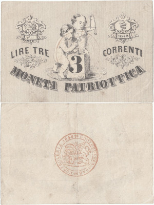 1848, 3 lire (P-S187) - Italia (Veneția)! (CRC: 70%) foto
