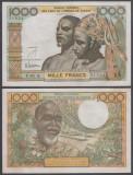 Coasta de Fildes 1000 francs 1961 - 1965 aunc semnatura rara