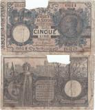 1925 (20 XII), 5 lire (P-23g) - Italia! (CRC: 82%) (prezinta reparatie)