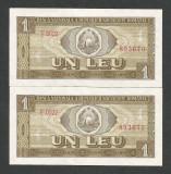 ROMANIA 1 LEU  1966  UNC [0] P-91 , Serie Consecutive ,  pret per lot necirculat