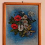 """Tablou """"Flori"""" semnat de Stella Ionescu, Ulei, Realism"""