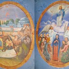 Inaltarea/Intr. in Erusalim-Icoana mare veche romaneasca dubla ulei/panza.