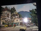 Vedere/Carte postala circulata cu autoturisme si autobuze de epoca,Sinaia,T.GRAT