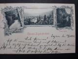 ZIZIN - ZAIZON - ANUL 1899 - LITOGRAFIE -CIRCULATA -CARTE POSTALA ILUSTRATA RARA, Fotografie