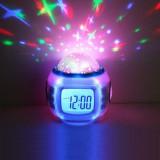 Ceas digital muzical cu proiectie stelute, LCD 1.96 inch, calendar, alarma, alb