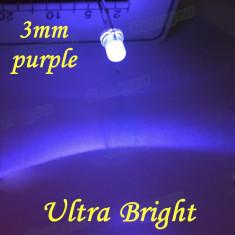 Led de 3mm transparent luminos ( culoare: MOV - PURPLE )
