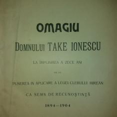 OMAGIU DOMNULUI TAKE IONESCU DIN PARTEA CLERULUI BISERICII ORTODOXE ROMANE