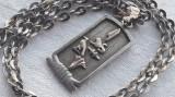 MEDALION argint EGIPT 1900 simboluri VECHI Egiptene SPLENDID masiv + Lant argint