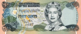 BAHAMAS █ bancnota █ 1/2 Dollar █ 50 Cents █ 2001 █ P-68 █ UNC █ necirculata