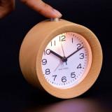 Ceas clasic analogic cu cifre, iluminat LED, alarma, lemn masiv, pentru birou