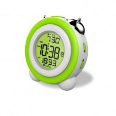 Ceas digital LED cu calendar, 2 grupuri alarma, display iluminat verde