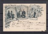 SIBIU FAMILIE DE TIGANI FAMILIE DE SASI FAMILIE DE ROMANI LITOGRAFIE CIRC.1899, Circulata, Printata
