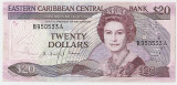 Eastern Caribbean 20 dollars dolari  ND(1985-88) VF