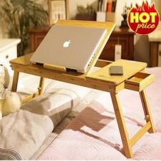Masuta Masa Din Lemn De Bambus Cu 2 Coolere Pentru Laptop