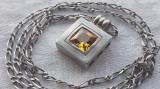 MEDALION argint cu CITRIN splendid SUPERB de efect IMPECABIL pe Lant argint