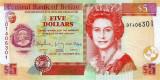 BELIZE █ bancnota █ 5 Dollars █ 2015 █ P-67f █ UNC █ necirculata