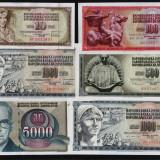 Lot 6 buc. UNC Iugoslavia 100/1965, 10 500  1000/1978, 1000/1981, 5000/1992